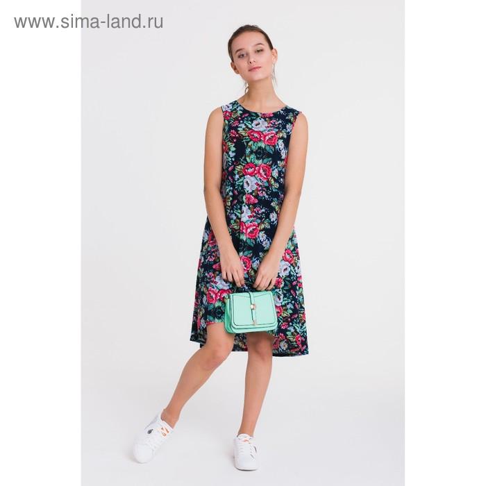 Платье, размер 50, рост 164 см, цвет чёрный/зелёный/розовый (арт. 4757 С+)