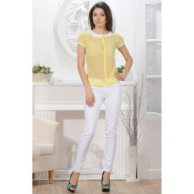 Блуза женская 4825а цвет лимон/белый, р-р 46, рост 164 см