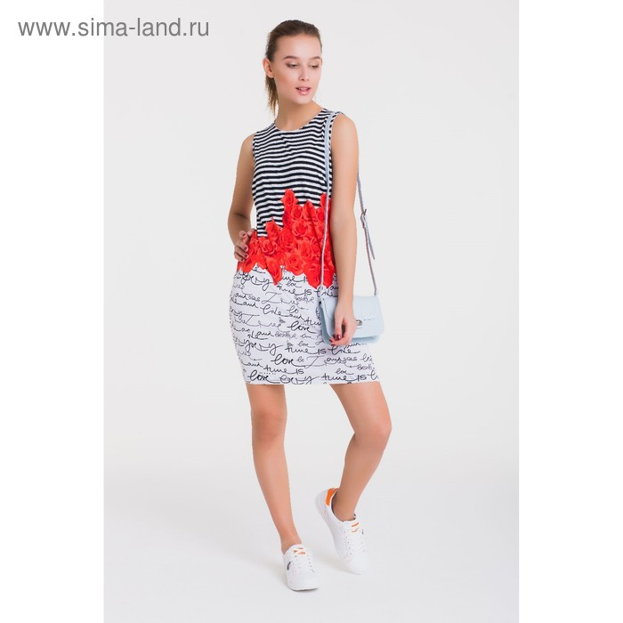 Платье 4760, размер 44, рост 164 см, цвет черный/белый/коралл