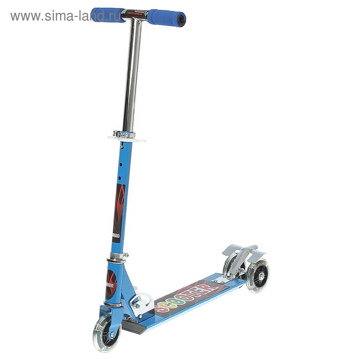 Самокат алюминиевый ОТ-Н4, три колеса PVC d= 100 мм, цвет синий в пакете