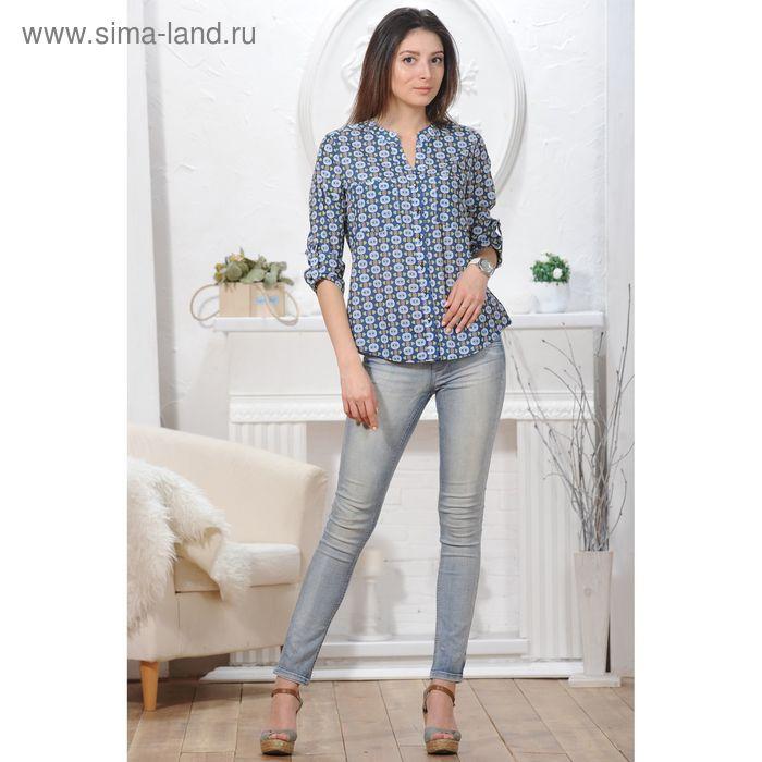 Блуза, размер 52, рост 164 см, цвет синий/лимон (арт. 4829 С+)