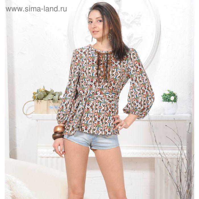 Блуза 4845а, размер 48, рост 164 см, цвет белый/зелен/оранж