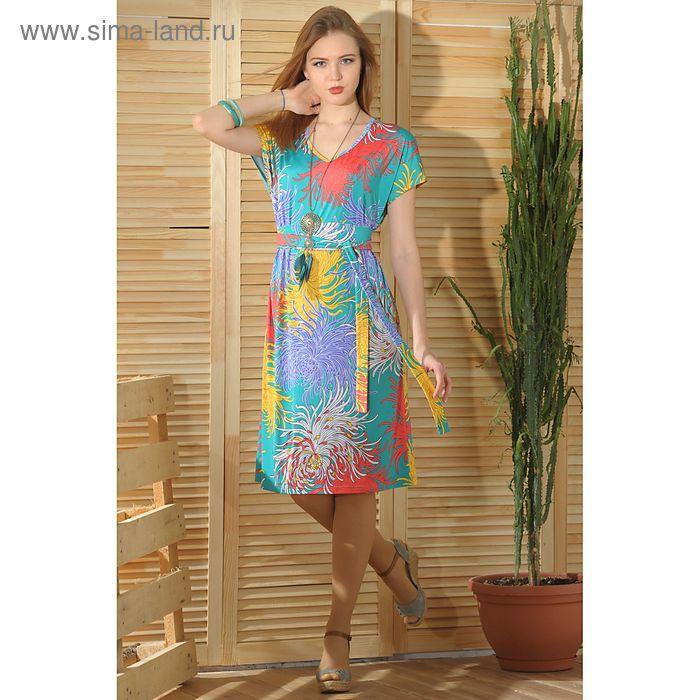 Платье 4755 С+, размер 52, рост 164 см, цвет зеленый/сиреневый/желтый