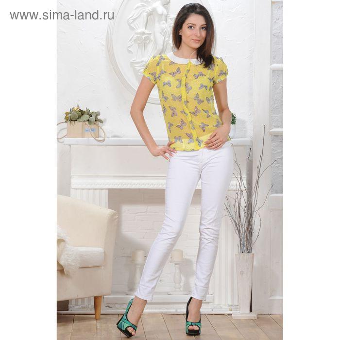 Блуза, размер 52, рост 164 см, цвет жёлтый/белый (арт. 4824а С+)