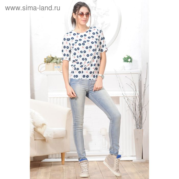 Блуза 4827, размер 44, рост 164 см, цвет белый/тёмно-синий