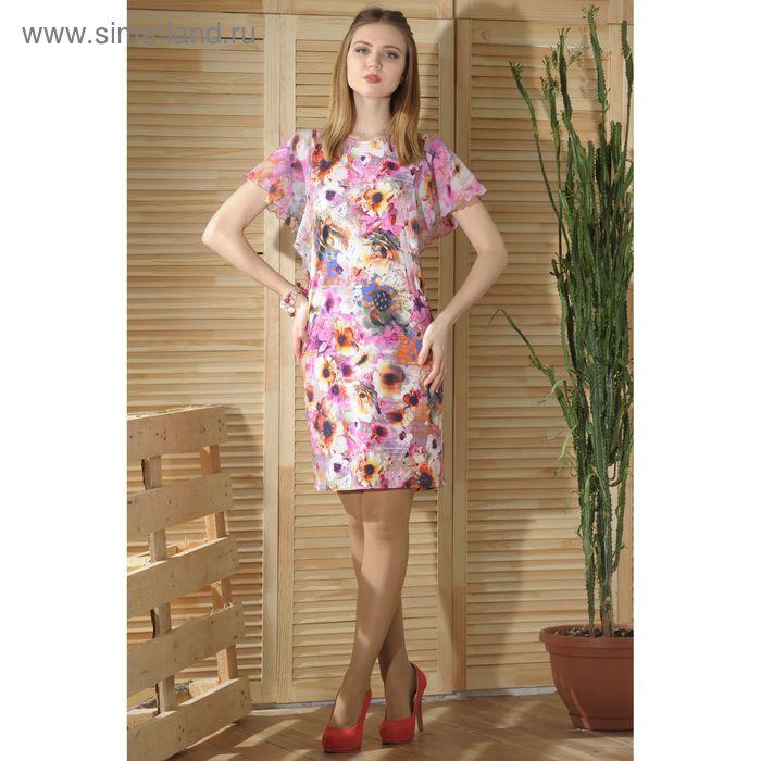 Платье, размер 54, рост 164 см, цвет розовый/белый (арт. 4742 С+)