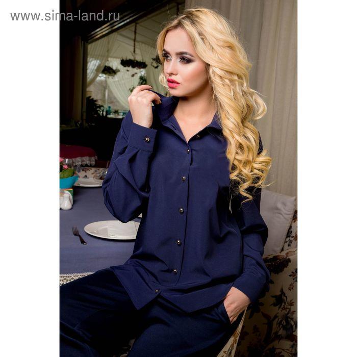 Блуза женская 72044, цвет: синий, рост 168 см, размер L (46)