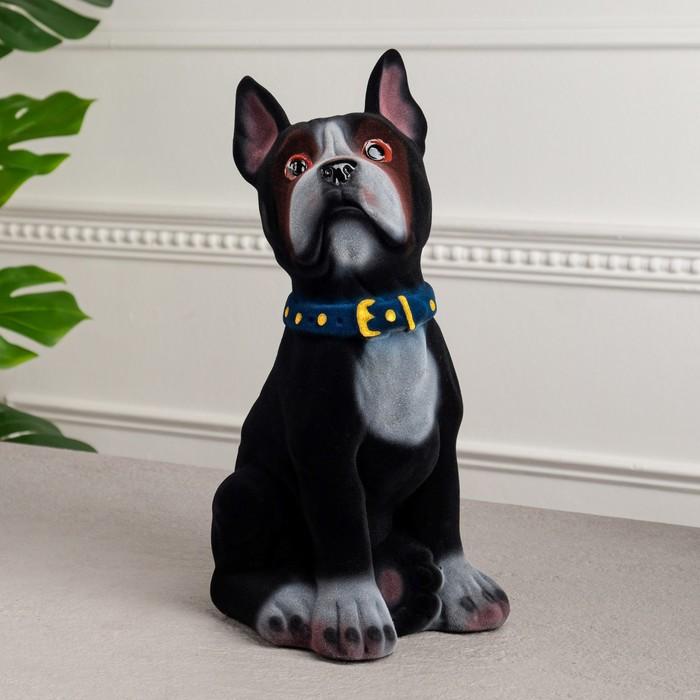 """Копилка """"Собака Боксёр"""", флок, чёрный цвет, 33 см"""