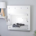 Зеркало гримерное настенное 60×60 cм, 12 лампочек
