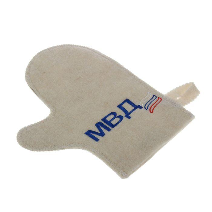 Рукавица для бани и сауны с вышивкой «МВД», белая