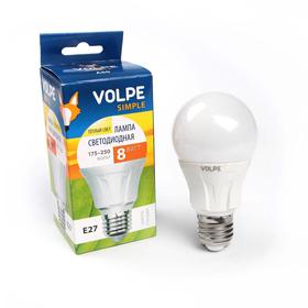 Лампа светодиодная Volpe A60,  Е27, 8 Вт, 3000 К,