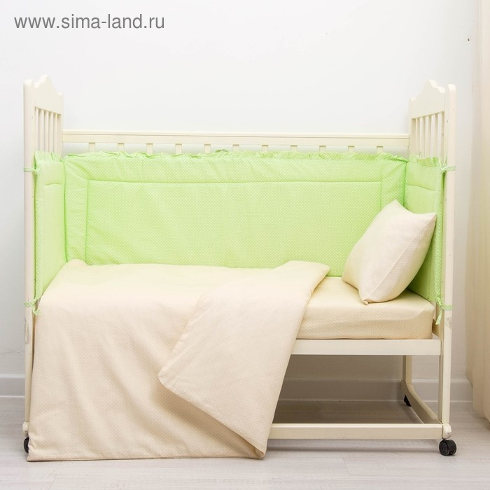 """Бортик """"Горошки"""", 4 части (2 части: 43х60 см, 2 части: 43х120 см), цвет зелёный (арт. 10113)"""