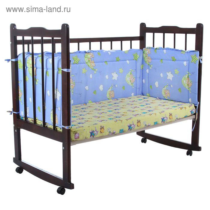 """Бортик """"Гамачки"""", 4 части (2 части: 43х60 см, 2 части: 43х120 см), цвет голубой (арт. 10110)"""