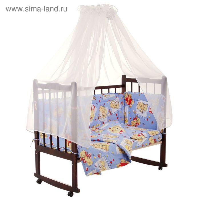 """Комплект в кроватку """"Тедди"""" (7 предметов), цвет голубой (арт. 10702)"""