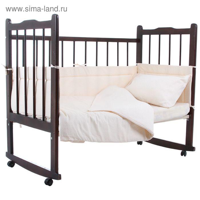 """Комплект в кроватку """"Горошки"""" (4 предмета), цвет бежевый 10403"""