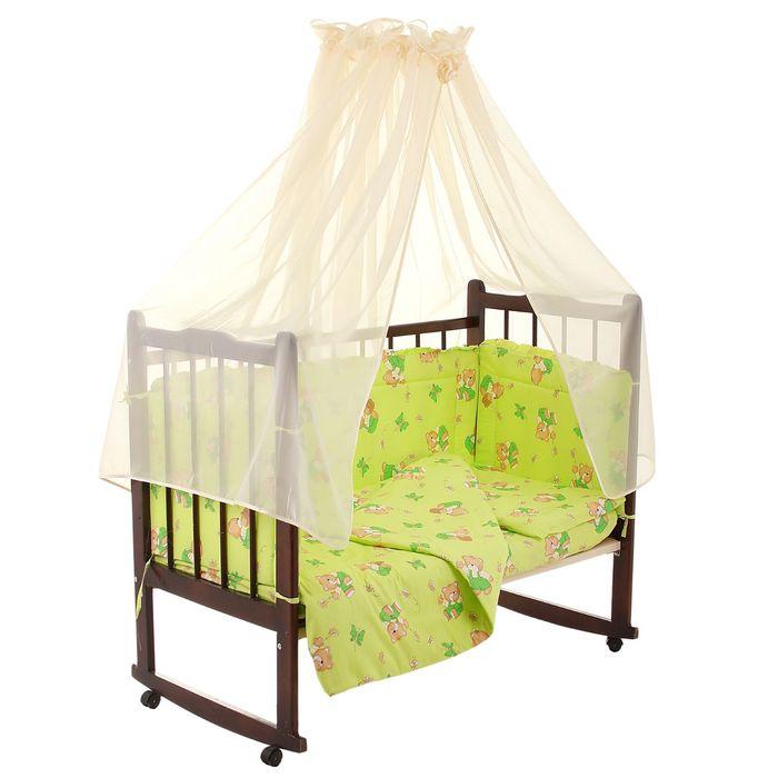 """Комплект в кроватку """"За мёдом"""" (7 предметов), цвет зелёный (арт. 10701)"""