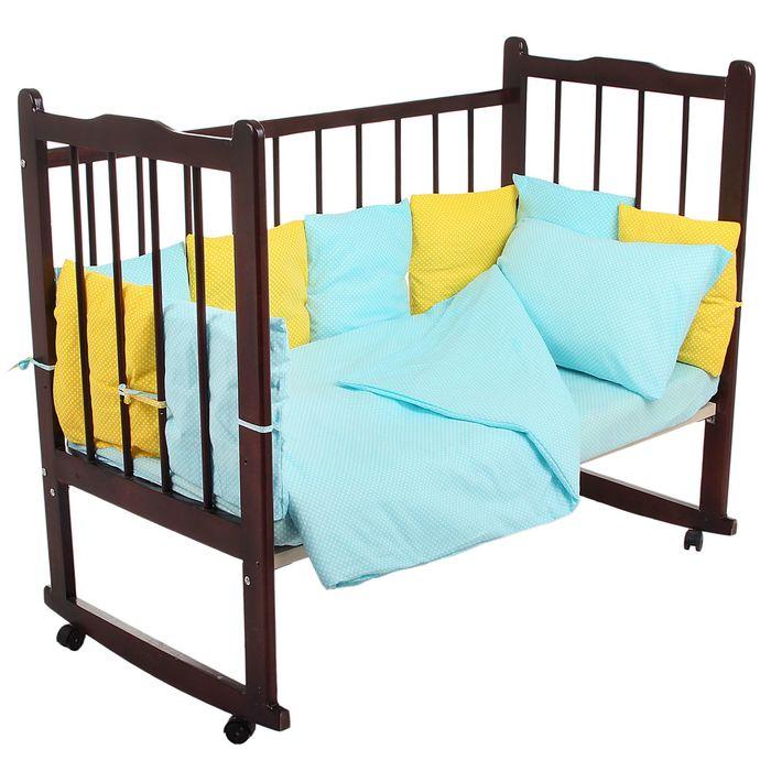 """Комплект в кроватку """"Мозаика"""" (4 предмета), цвета бирюзовый/жёлтый 10407"""