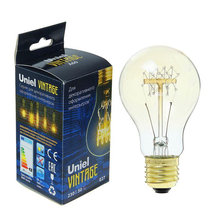 "Лампа накаливания Uniel ""Vintage"" А60, Е27, 60 Вт, форма нити SW01, тёплый свет"