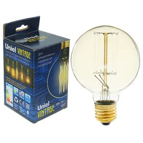 "Лампа накаливания Uniel ""Vintage"" G80, Е27, 60 Вт, форма нити VW01, ""шар"", тёплый свет"