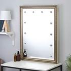 Зеркало «Верона», гримёрное, настенное, в багетной раме, 12 лампочек, 70×90 см - фото 1642843