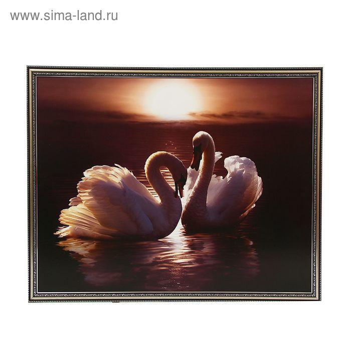 """Картина """"Пара лебедей на закате"""""""