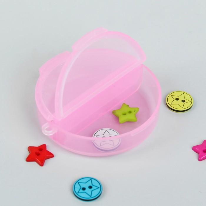 Контейнер для бисера, 5,5х1,8см, цвет розовый