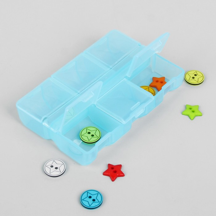 Контейнер для бисера, 9x6x1,8см, цвет голубой