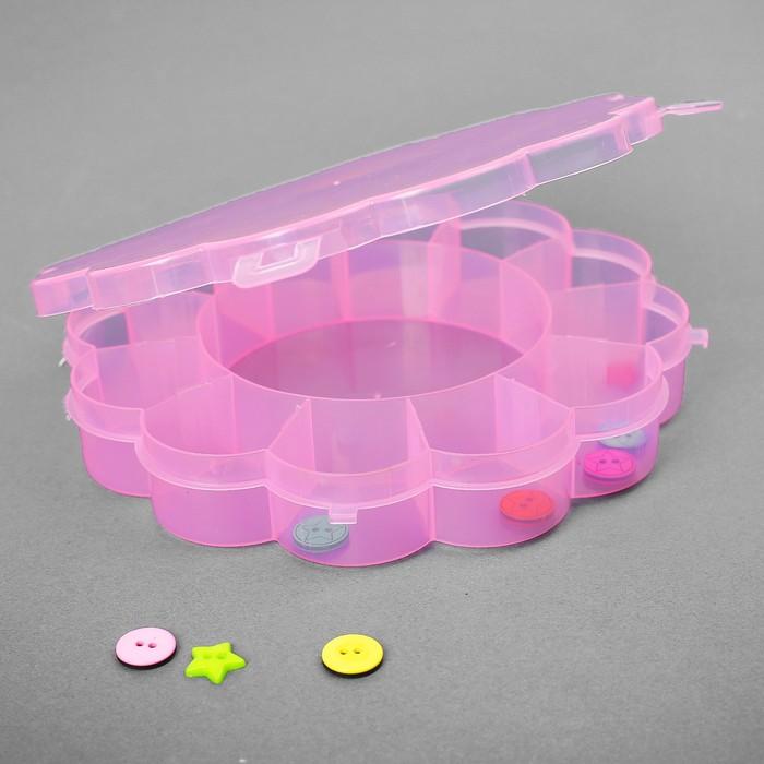 Контейнер для бисера, 15,5х2,5см, цвет розовый