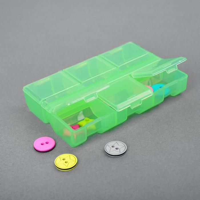 Контейнер для бисера, 9x6x1,8см, цвет салатовый