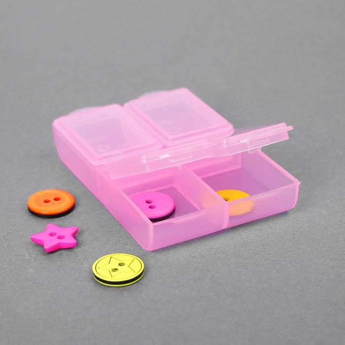 Контейнер для бисера, 6,4x4,4x1,3см, цвет розовый