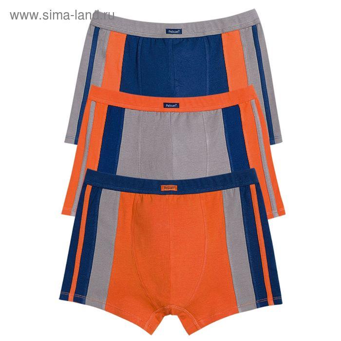 Набор мужских трусов облегающих 3 шт., цвета оранжевый, серый, синий, размер 46 (M) (арт. MH(3)606/2)