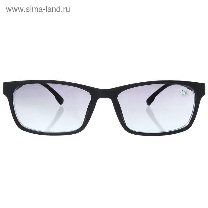 """Очки """"Прямоугольные"""", пластик, линза тонированная, цвет чёрный, -1,5 дптр, 62-64мм"""