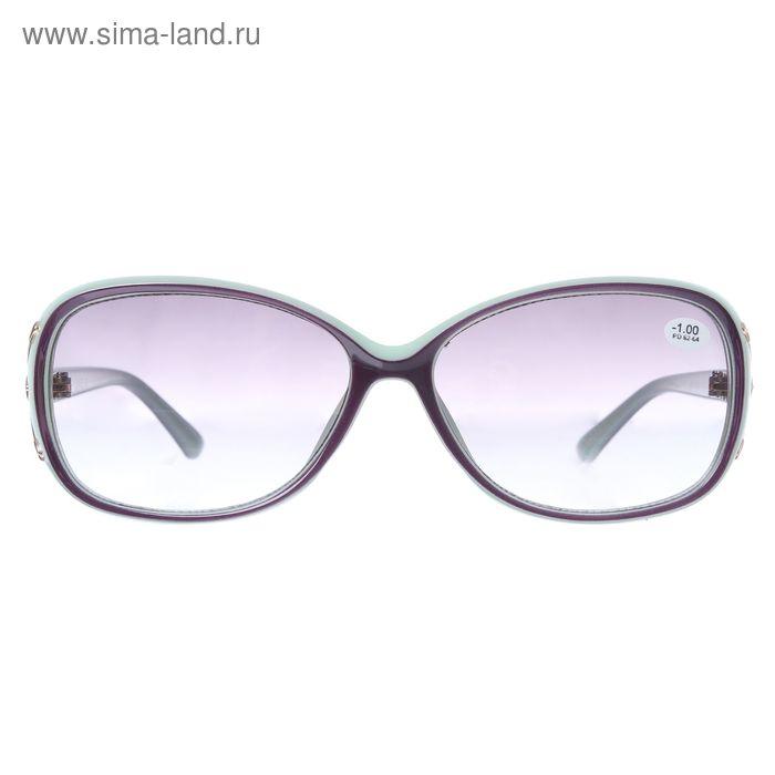 """Очки """"Овальные"""", пластик, линза тонированная, цвет зелёный, -1 дптр, 62-64мм"""