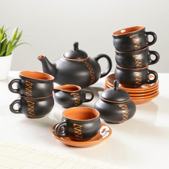 "Сервиз ""Орнамент"" чугун чайник 0,7л,сахарница 0,5л,сливочник 0,3л,чашка с блюдцем 0,25л 6 шт"