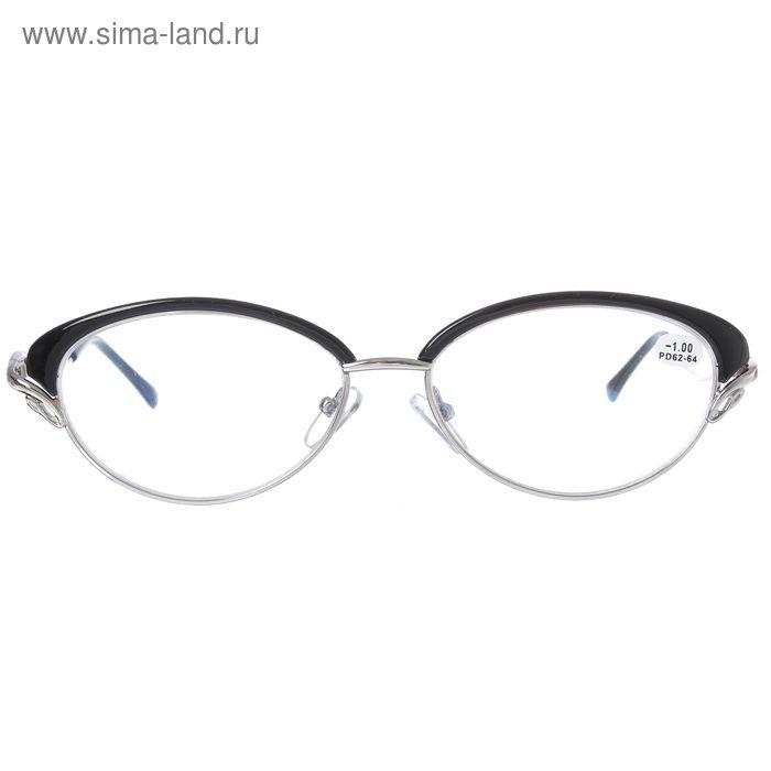 """Очки """"Кошачий глаз"""", пластик, цвет чёрный, -1 дптр, 62-64мм"""