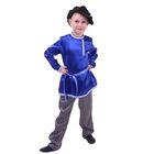 Русский народный костюм для мальчика, синяя рубашка, штаны, фуражка, обхват груди 64 см, рост 116 см
