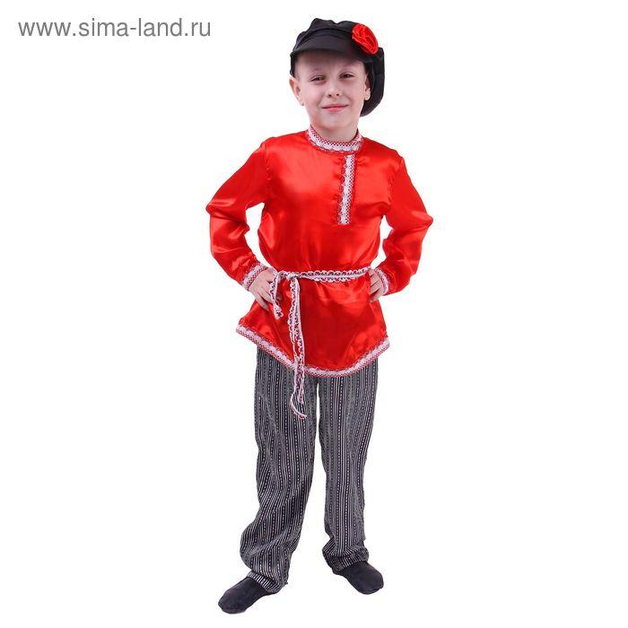 Русский народный костюм для мальчика, красная рубашка, штаны, фуражка, обхват груди 64 см, рост 122 см