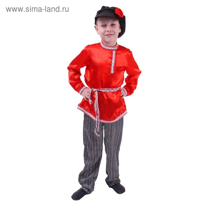 Русский народный костюм для мальчика, красная рубашка, штаны, фуражка, обхват груди 60 см, рост 110 см
