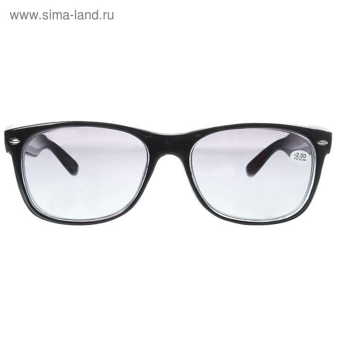 """Очки """"Квадратные"""", пластик, линза тонированная, цвет чёрный, -2,5 дптр, 62-64мм"""