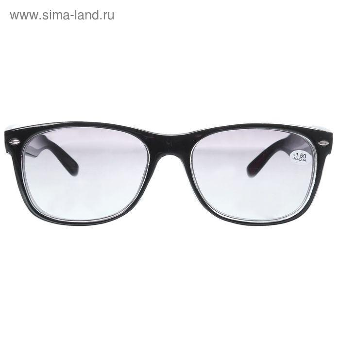 """Очки """"Квадратные"""", пластик, линза тонированная, цвет чёрный,-1,5 дптр, 62-64мм"""
