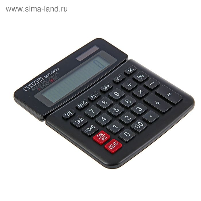 Калькулятор настольный 10-разрядный SDC-340III, двойное питание, поворотный дисплей, черный