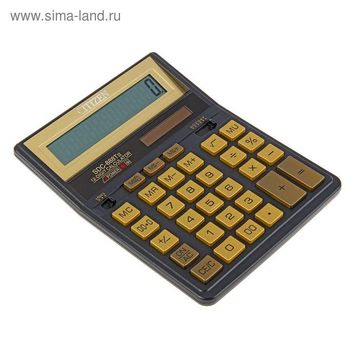 Калькулятор настольный 12-разрядный SDC-888TIIGE, 203*158*31мм, двойное питание, черный/золото