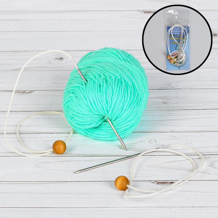 Спицы для вязания, раздельные, на леске, наконечник, d = 2,8 см, 60 см