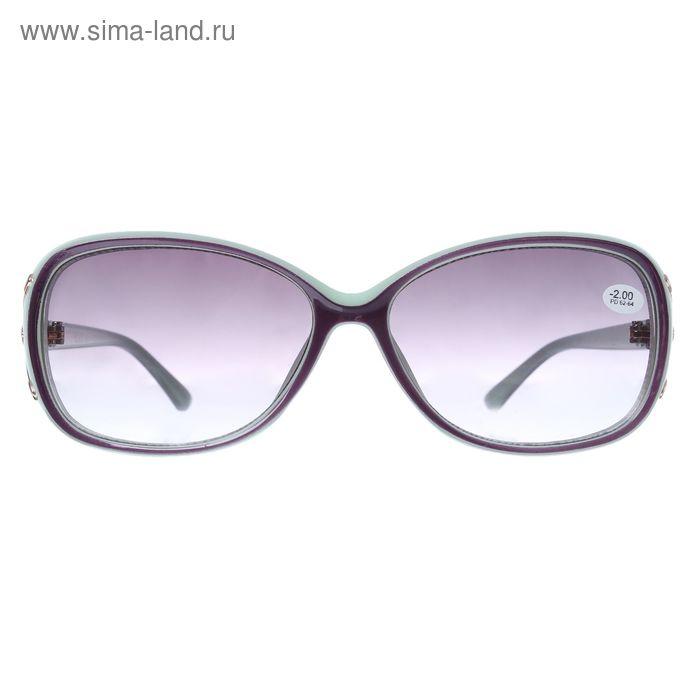 """Очки """"Овальные"""", пластик, линза тонированная, цвет зелёный, -2 дптр, 62-64мм"""