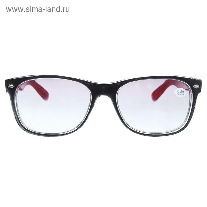 """Очки """"Квадратные"""", пластик, линза тонированная, цвет чёрно-красный, -1,5 дптр, 62-64мм"""