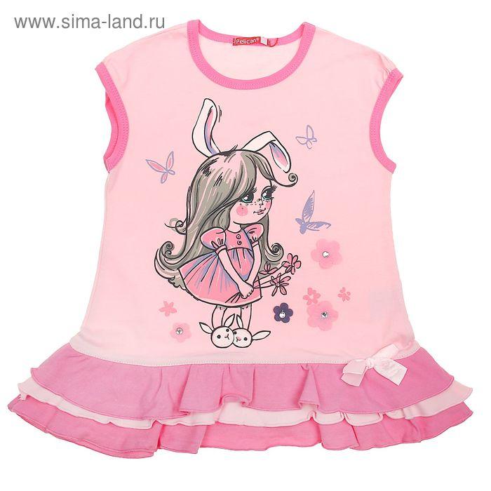 Платье для девочек, рост 98-104 см, возраст 3 года, цвет розовый (арт. GDT350)