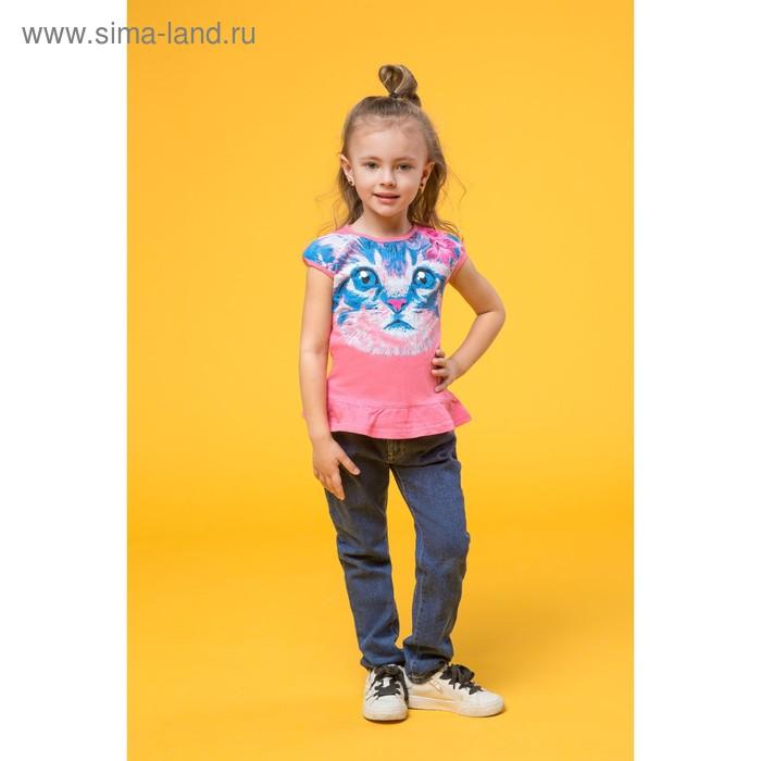 Футболка для девочек, рост 92-98 см, возраст 2 года, цвет ярко-розовый (арт. GTR377)