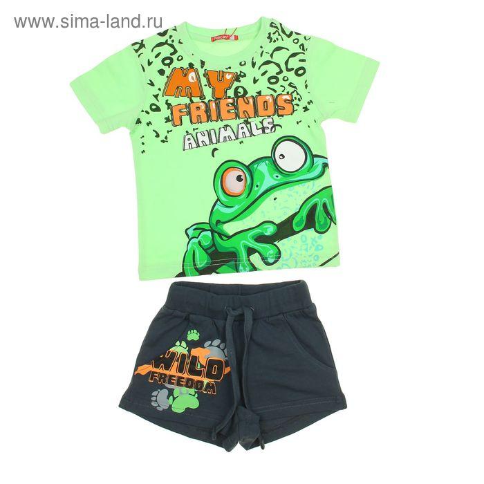 Комплект для мальчиков (футболка + шорты), рост 86-92 см, возраст 1 год, цвет светло-зелёный (арт. BATH353)