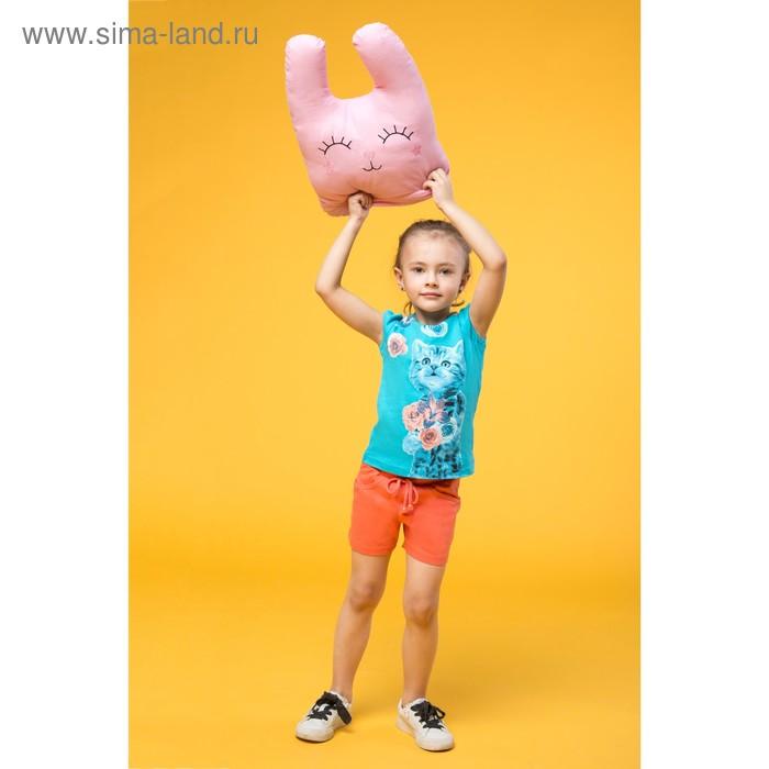 Комплект для девочек (футболка + шорты), рост 110-116 см, возраст 5 лет, цвет бирюзовый (арт. GATH377)