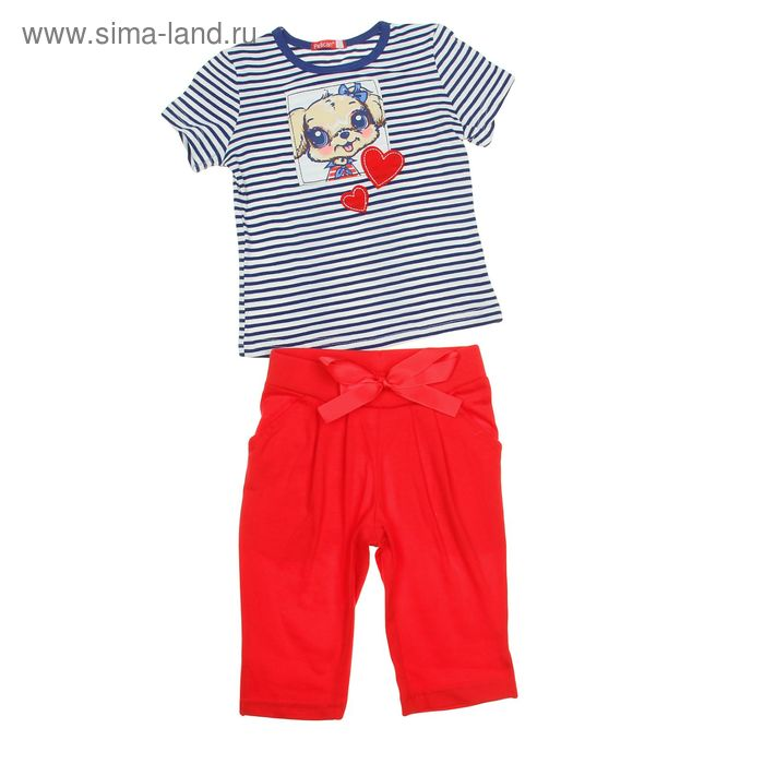 Комплект для девочек (футболка + бриджи), рост 110-116 см, возраст 5 лет, цвет голубой (арт. GATB372)